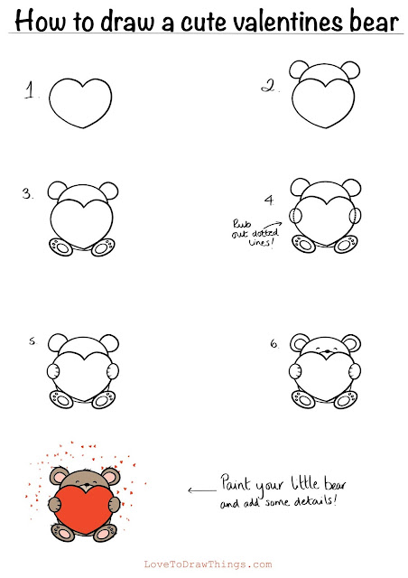 Easy valentines drawing. Step by step drawing tutorial