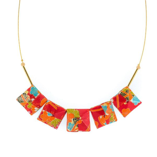 gold necklace wire with five folded square origami patterned paper beads