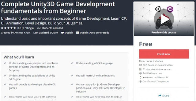 [100% Free] Complete Unity3D Game Development fundamentals from Beginner