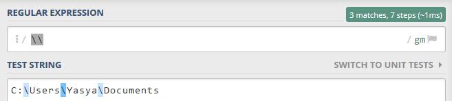 """menggunakan metode Escape dengan menyertakan dua Backslash """"\\"""""""
