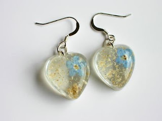 Drop earrings for ashes and forget me not flowers