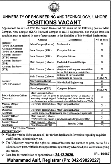 University Of Engineering & Technology UET Jobs