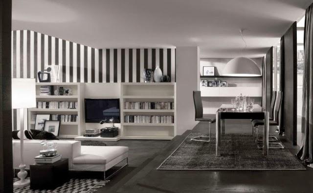 sala en blanco y gris