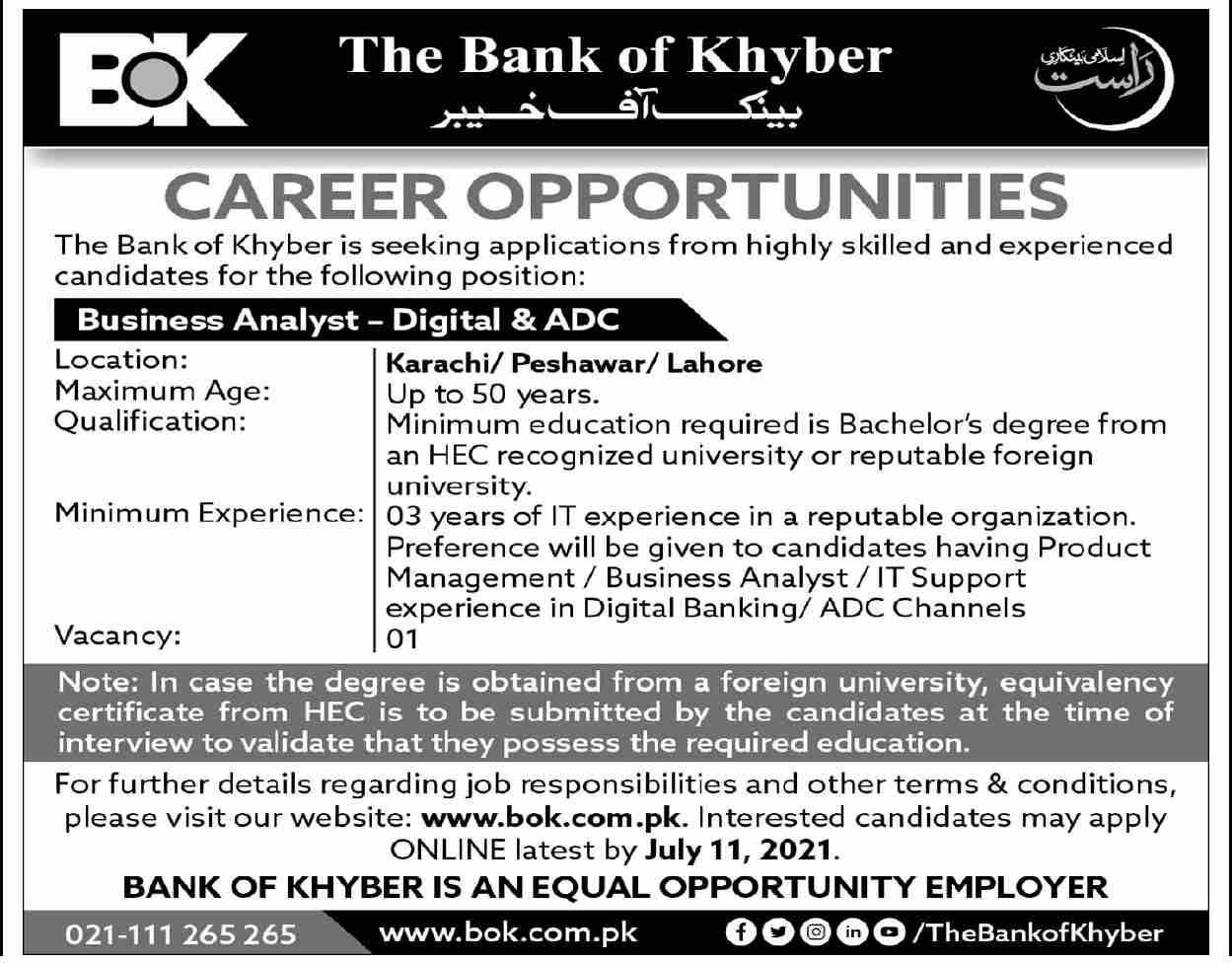www.bok.com.pk Jobs 2021 - Bank of Khyber (BOK) Jobs 2021 in Pakistan