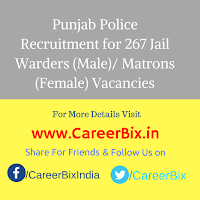 Punjab Police Recruitment for 267 Jail Warders (Male)/ Matrons (Female) Vacancies