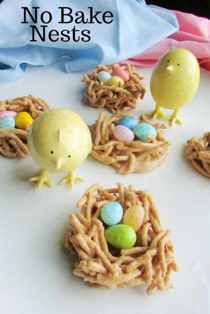 These spring nests are a first day of spring tradition in my family that is 30 years strong. They would be cute for Easter too. No-bake peanut butter goodness!