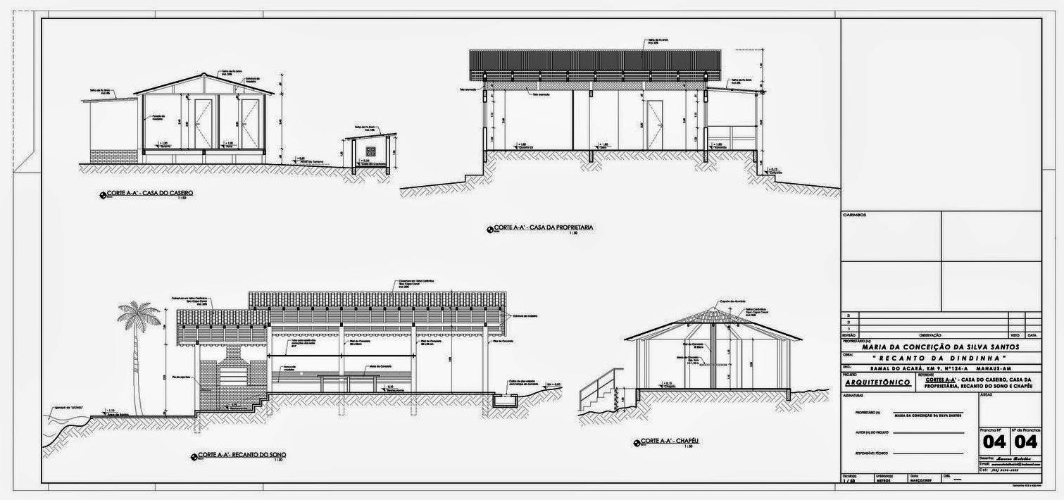 Projeto Arquitetônico - Sítio - Recanto da Dindinha cortes