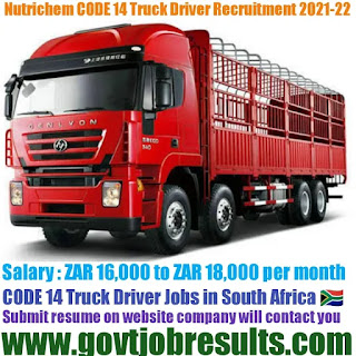 Nutrichem CODE 14 Truck Driver Recruitment 2021-22