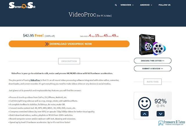 Offre promotionnelle : VideoProc (4.1) gratuit !