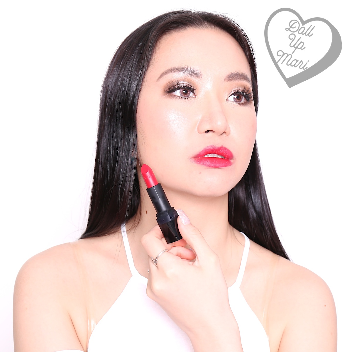Mari wearing Ruby Kiss shade of AVON Perfectly Matte Lipstick