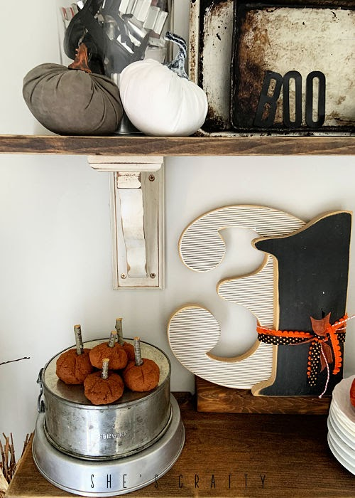 Halloween home deocr - shelf decor, cinnamon applesauce pumpkins, vintage layers