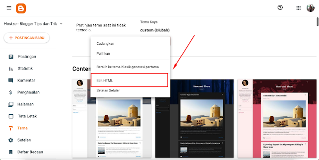 Pilih edit HTML di blog - hostze.net