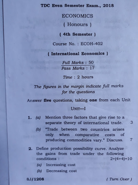 AUS 4th Semester Economic Honours old year question Paper