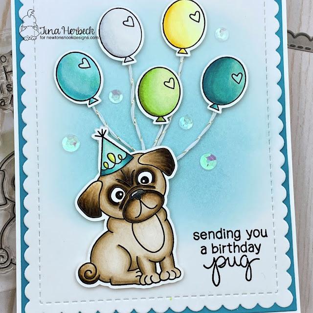Pug Birthday Card by Tina Herbeck | Pug Hugs Stamp Set by Newton's Nook Designs #newtonsnook #handmade