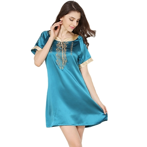 19 Momme Short Sleeved Embroidered Silk Nightgown Golden Edge