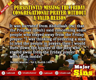 MAJOR SIN.66.2. PERSISTENTLY MISSING THE FRIDAY CONGREGATIONAL PRAYER WITHOUT A VALID REASON