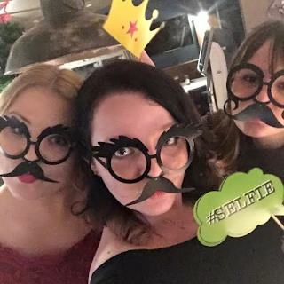 Friends, friendship, fun, out, night out, silly, selfie, drunk, party, masks, glasses, photo booth props,