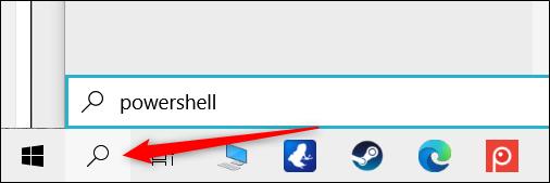 """انقر على أيقونة البحث واكتب """"powershell"""" في مربع النص."""
