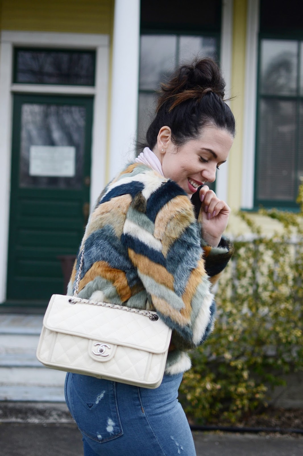 multicolor faux fur coat outfit hudson jeans m3de boots chanel french riviera bag vancouver fashion blogger