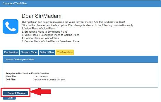 How to change BSNL Bharat Fiber plans to new FTTH Broadband plans online via BSNL Selfcare Portal?