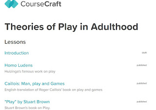 Screenshot of the front page of an online course, theories of play in adulthood