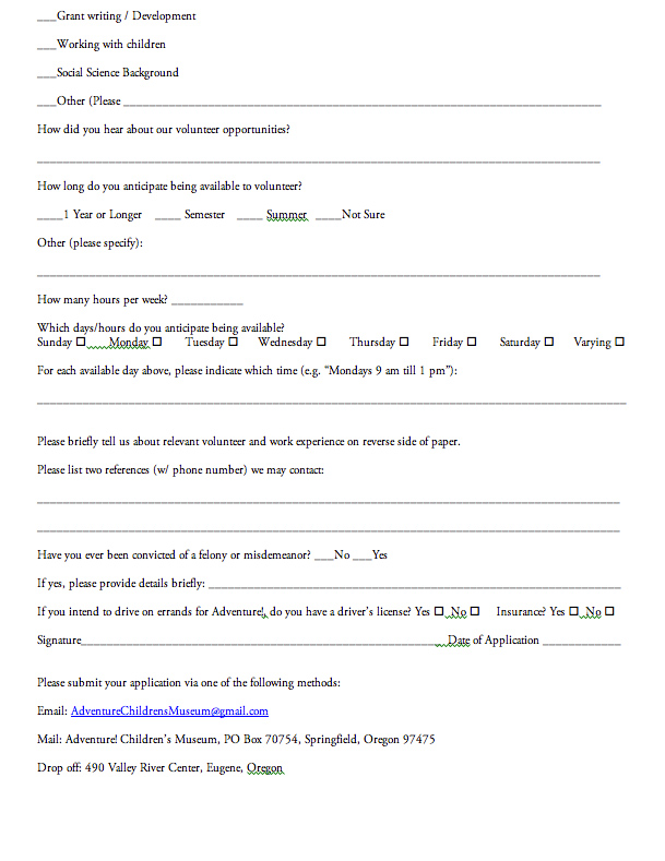 Adventure! Children\u0027s Museum Volunteer Form + Orientation Packet