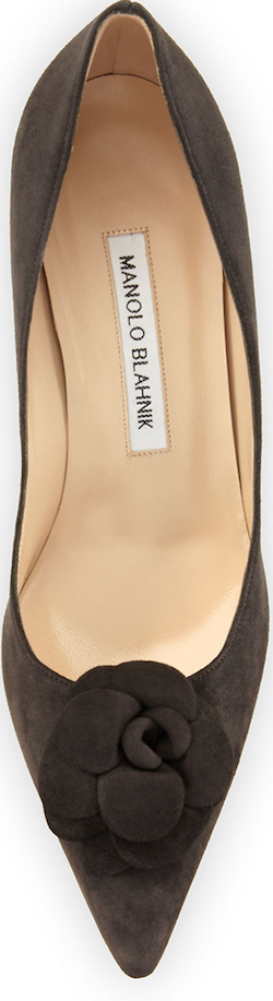 Manolo Blahnik Camelia Suede 70mm Pump, Dark Gray