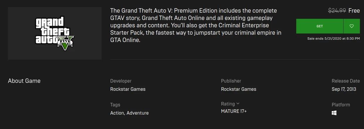 GTA V Epicgamesstore