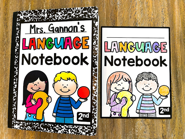 Grammar anchor charts and student language notebook for second grade.
