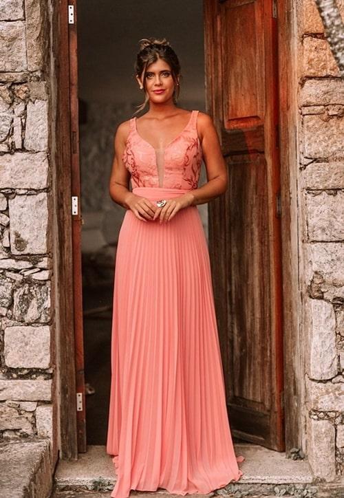vestido longo da paleta coral para madrinha de casamento