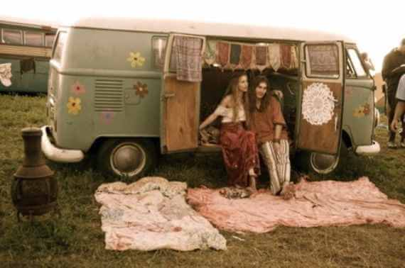 Two dirty hippies sitting in their fucking vw bus!