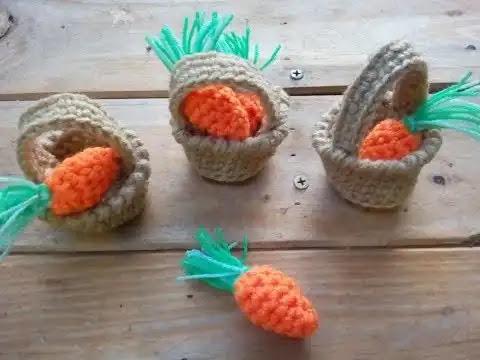 Zanahorias tejidas a crochet para decorar tu cocina