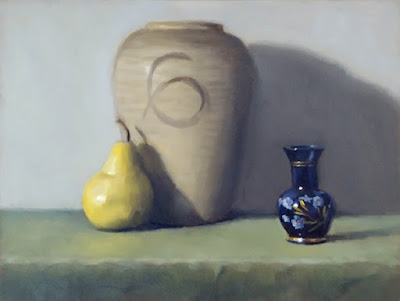 Still life oil painting of a small blue vase and a yellow pear beside a large earthenware vase