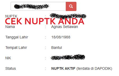 Cara Cek Status NUPTK Aktif GTK