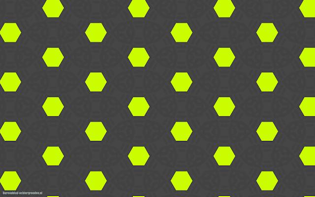 Grijze achtergrond met patronen en groen gele hexagons