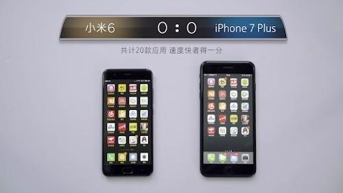 VIDEO ADU KECEPATAN MI6 (MIUI 9) VS IPHONE 7 PLUS (iOS 11)