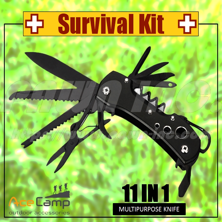 Multi-Purpose 11 in 1 Swiss Style Jungle Knife (Black)