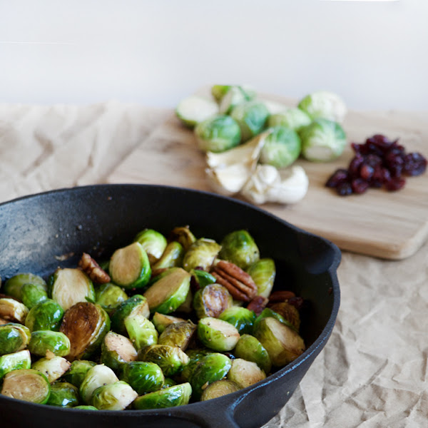 Garlic Brussel Sprouts with Craisins and Pecans