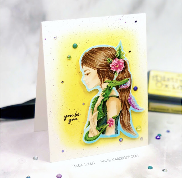 #cardbomb, #mariawillis, Picket Fence Studios, #heroarts, no-line coloring, #rangerink, #danygirl, #cards, #handmade, #cardmaker, #art, #color, #stamp, #ink, #paper, #distressoxides, #copics, #copicmarkers, #dragon