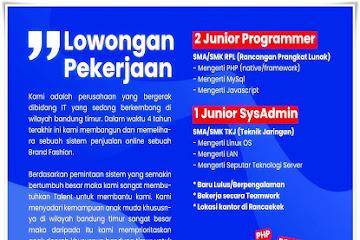 Lowongan Kerja Karyawan IT Penjualan Online di Bandung
