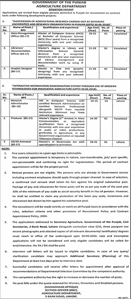 Agriculture Department Government Of The Punjab Jobs 2016
