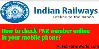 PNR Full Form In Railway In Hindi