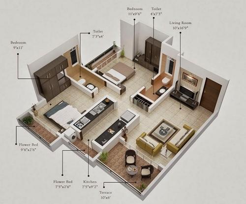 Desain Interior Rumah type 36 Gambar 3D