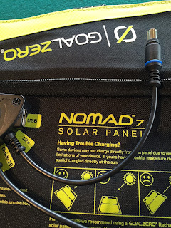 Nomad 7 solar panel with its 8mm connector
