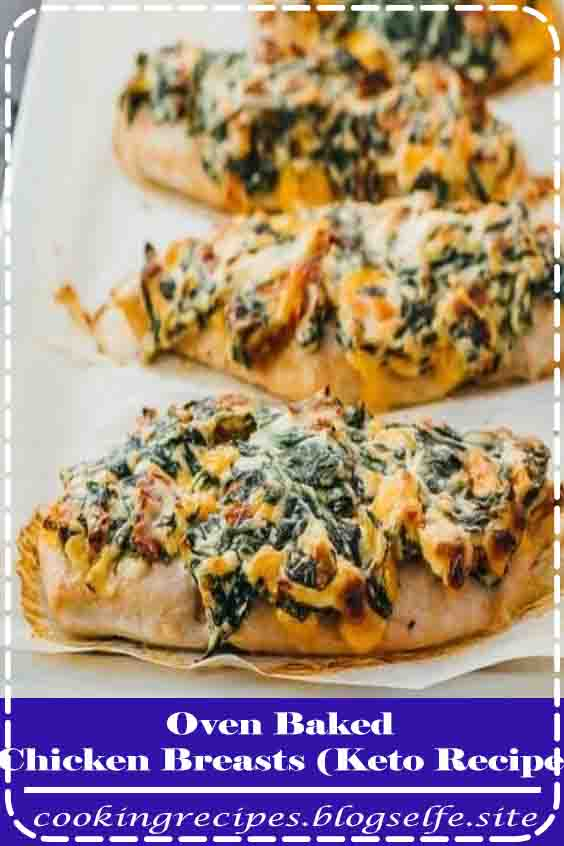 4.9 ★★★★★ | An easy and healthy chicken recipe for boneless breasts baked in the oven and spread with a spinach and cream cheese topping. Keto, low carb, and gluten free. #chicken recipes #for dinner #easy #oven baked