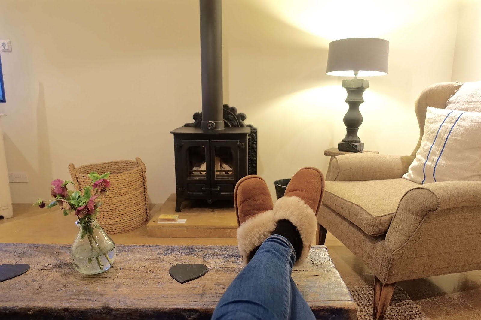 romantic escape for two with log fire
