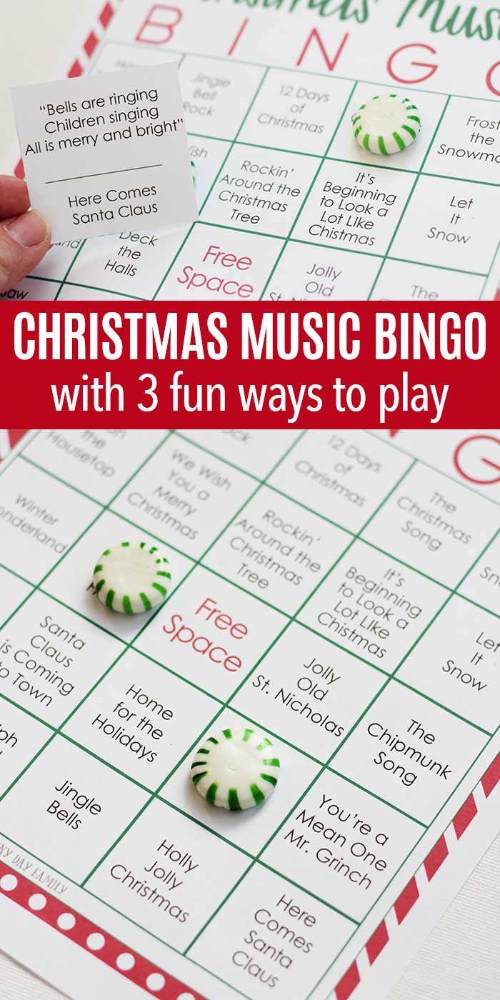 Test your Christmas music knowledge with this fun printable Christmas BINGO game! Perfect for holiday parties, classrooms, or even road trips, this Christmas bingo game is fun for the whole family! #Christmasgames #Christmaspartyfun #Christmasgamesforkids #Christmasprintables