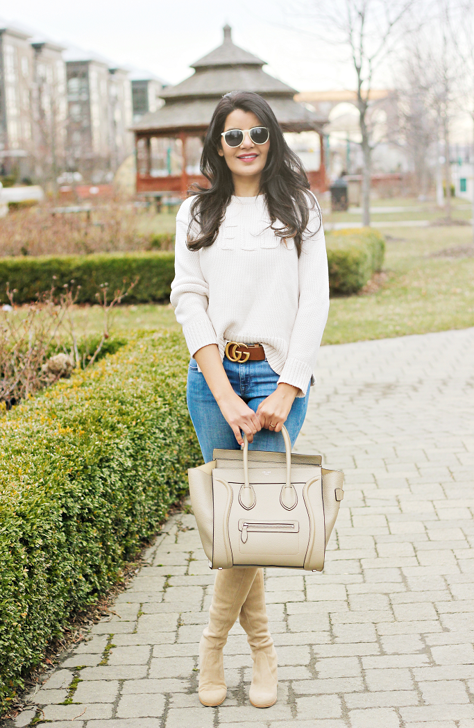 Neutral Outfit Ideas,Indian American Fashion Blogger, Gucci Marmont Belt In Brown Leather God Hardware, Stuart Eeitzman Tieland, Stuart Weitzman Taupe OTK Boots, How To Wear Neutrals In Spring, Blue Jeans And White Top Ideas