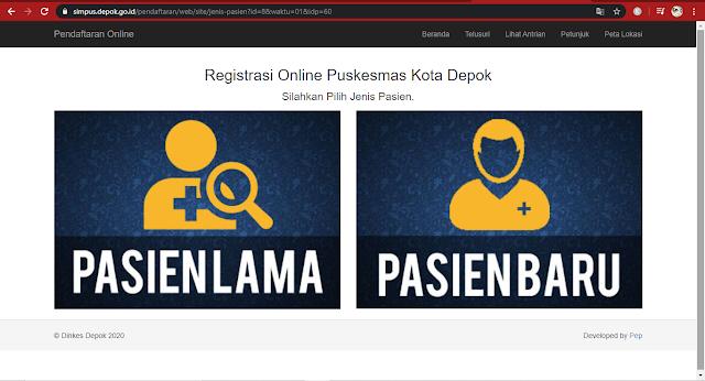 statsu pasien daftar online puskesmas di Depok