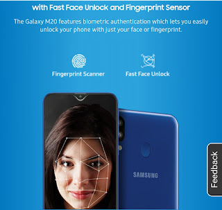 M20 face unlock & fingerprint scanner